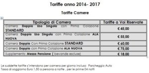 Tariffe Villa D'amato